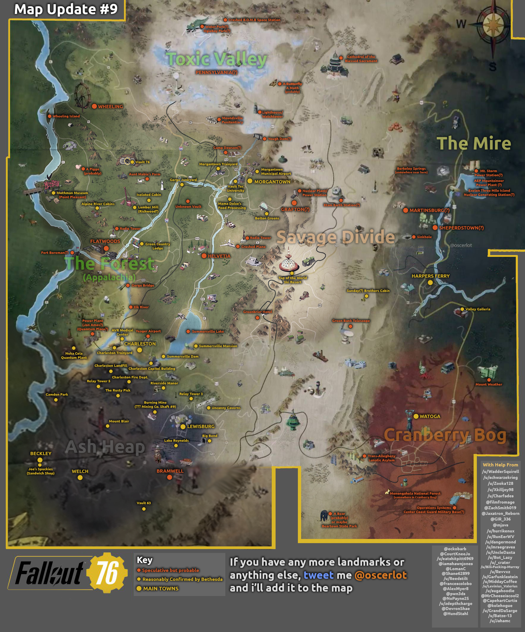 fallout 76 map all confirmed and possible locations vg247