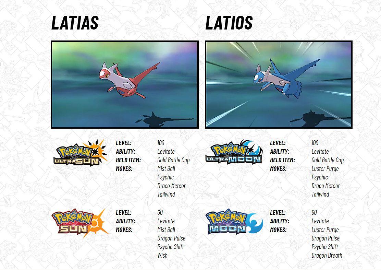 Legendary Pokemon Latias and Latios available for Pokemon