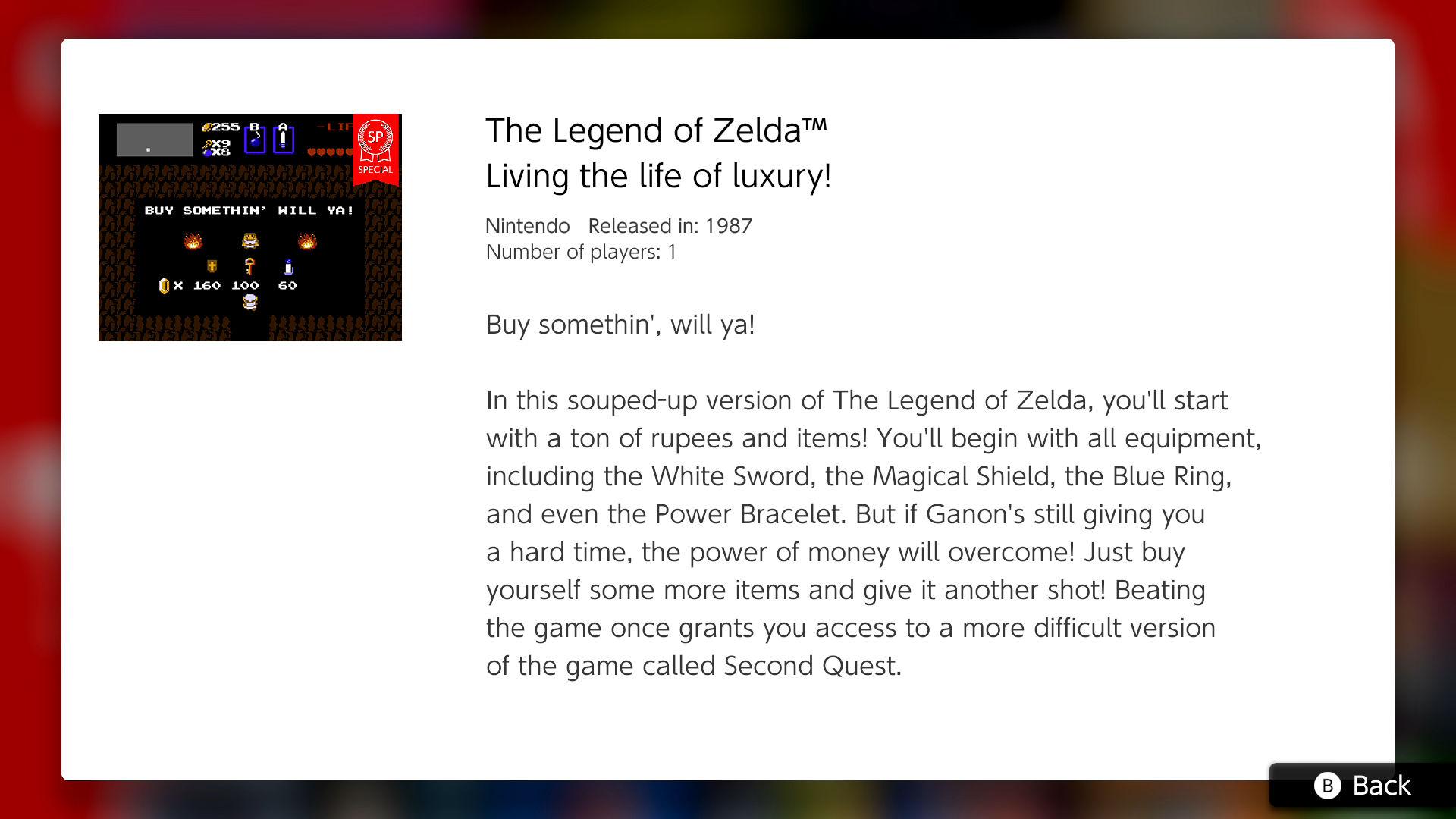 NES – Nintendo Switch Online adds The Legend of Zelda special version