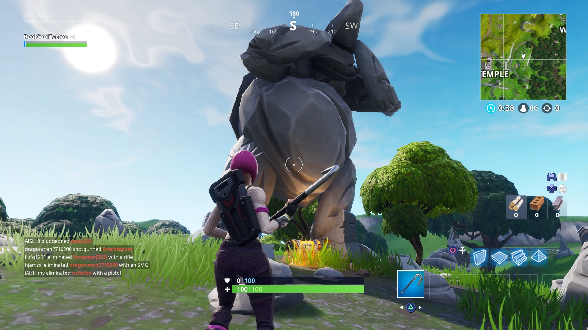 Fortnite Search Between A Giant Rock Man A Crowned Tomato And An