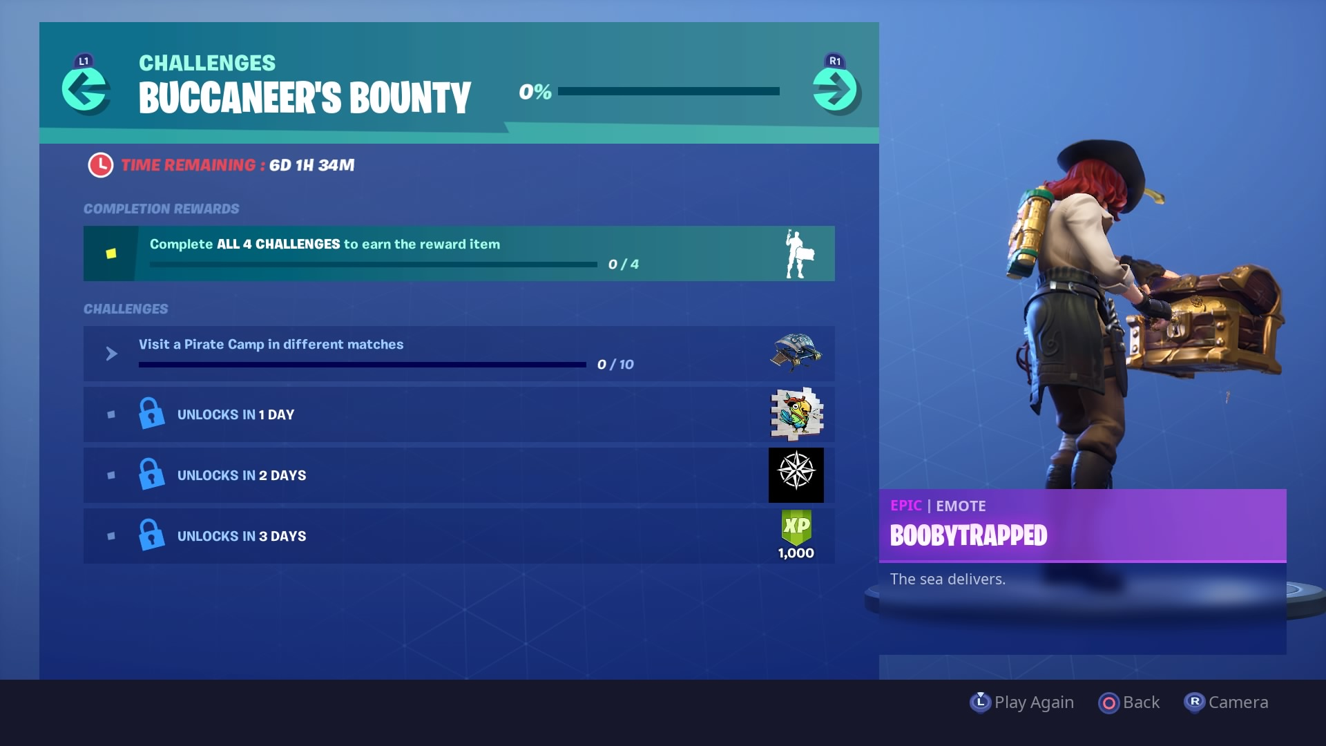 fortnite buccaneer s bounty rewards and challenges plunder glider and boobytrapped emote vg247 - when do fortnite challenges come out