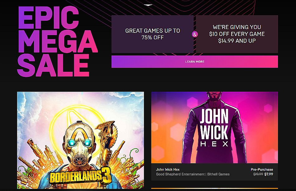 Epic Games Store Sale Offers $10 Off Any Game Over $15