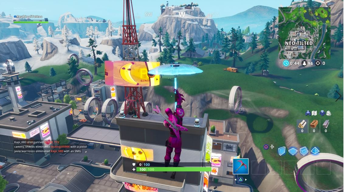 , Fortbyte 100: Found on the Highest Floor of the Tallest Building in Neo Tilted in Fortnite, AllYourGames.com, AllYourGames.com