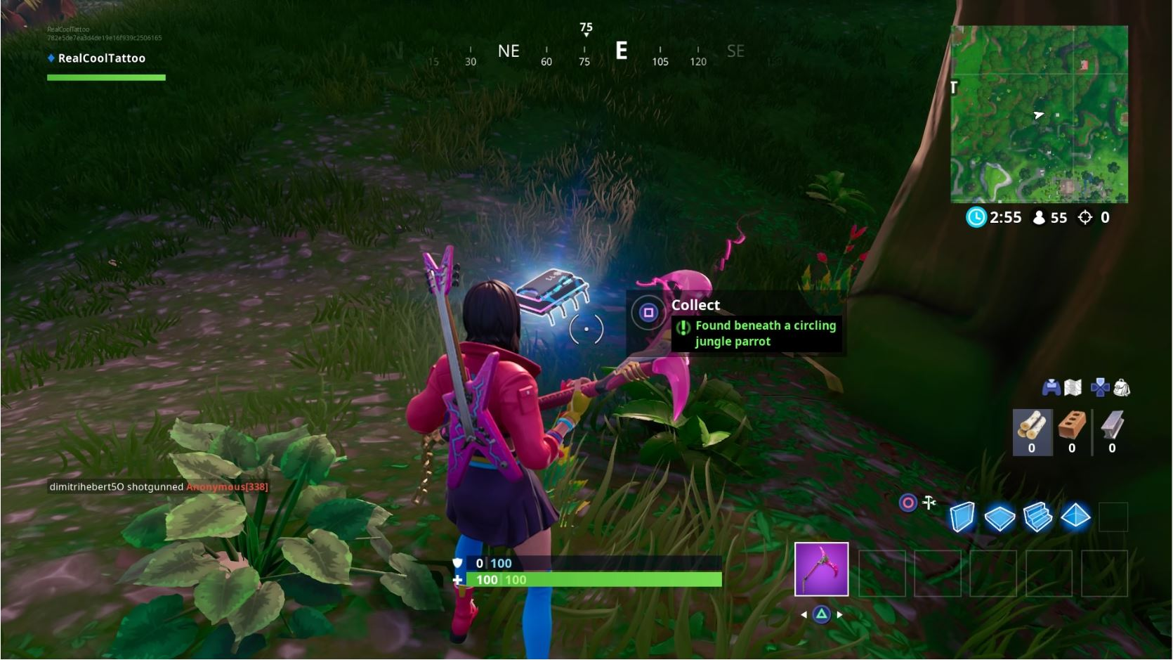 , Fortbyte 11: Found beneath a circling jungle parrot in Fortnite, AllYourGames.com, AllYourGames.com