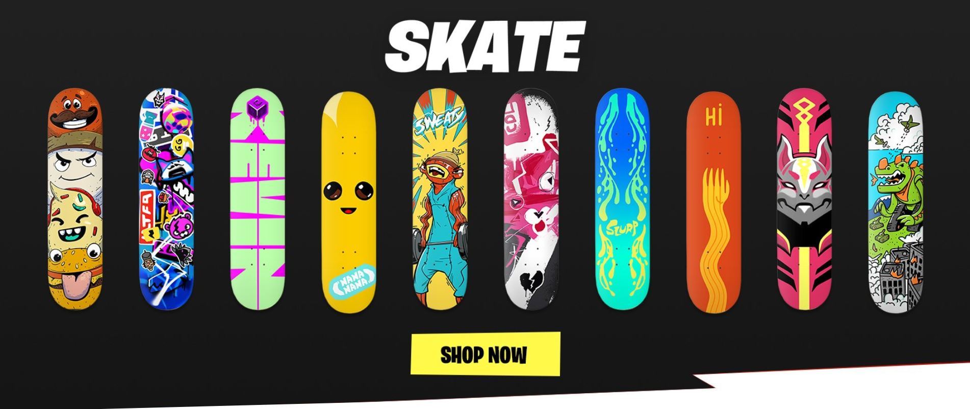 , Epic Games releases IRL Downtown Drop Fortnite skate decks on the Retail Row merch store, AllYourGames.com, AllYourGames.com