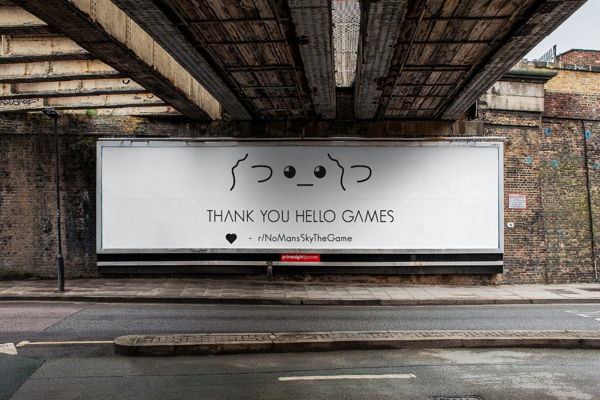 Today in legitimately heartwarming news: No Man's Sky fans purchase billboard space to thank the developers - VG247