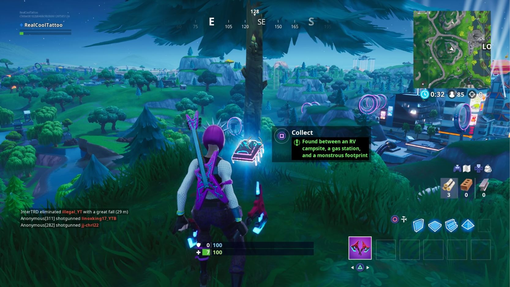 Fortnite Fortbyte 23: between RV campsite, gas station, monstrous footprint location