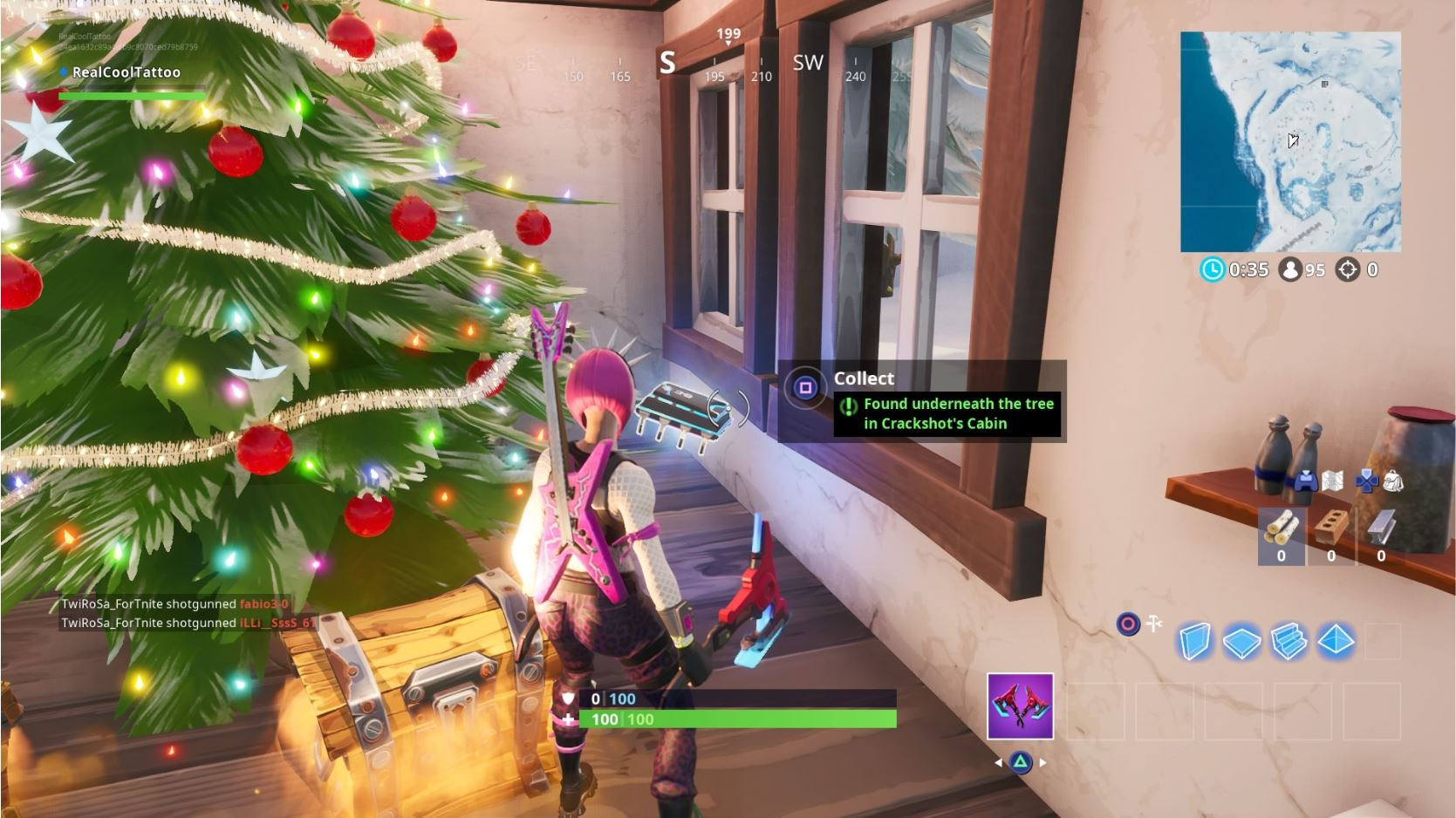 , Fortbyte 29 – Found Underneath the Tree in Crackshot's Cabin location in Fortnite
