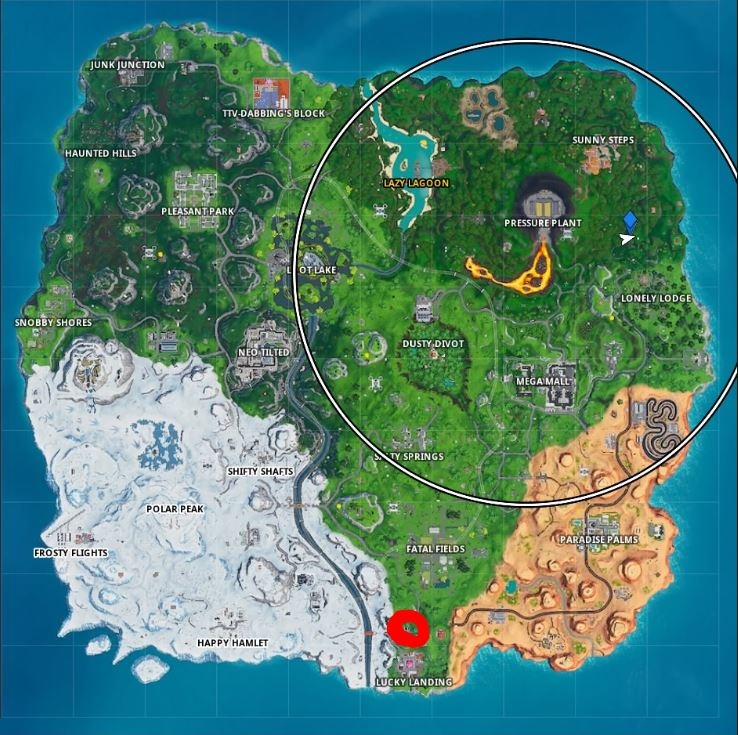 , Fortbyte 63 : Found somewhere between Lucky Landing and Fatal Fields in Fortnite, AllYourGames.com, AllYourGames.com