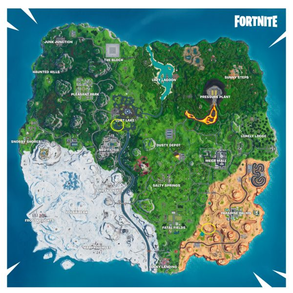 , Fortnite: Visit a memorial to a cube in the desert or by a lake, AllYourGames.com, AllYourGames.com