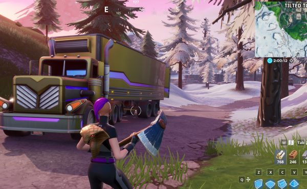 , Fortnite Season 10: search between a basement film camera, a snowy stone head and a gold big rig