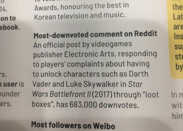 EA received a Guinness World Record for Most Downvoted