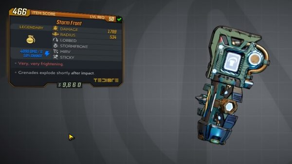 Borderlands 3: how to get the Storm Front Legendary grenade