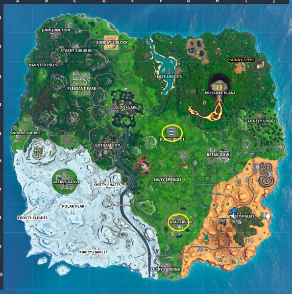 , Fortnite: Complete the skydiving course over Dusty Depot after jumping from the Battle Bus