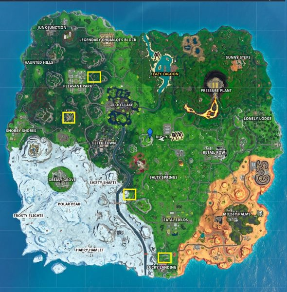 , Fortnite: complete a time trial north of Lucky Landing or east of Snobby Shores