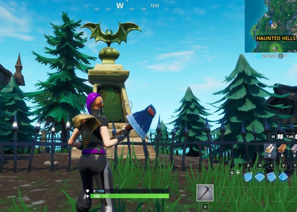 , Fortnite: dance in front of a bat statue, in a way-above ground pool and on a seat for giants