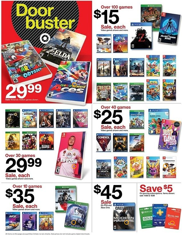 Target Black Friday Offers Include Over 100 Games For 15 Each