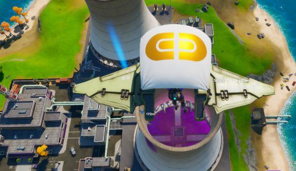 Fortnite: Capítulo 2 - Salta en paracaídas a través de anillos en Steamy Stacks 2
