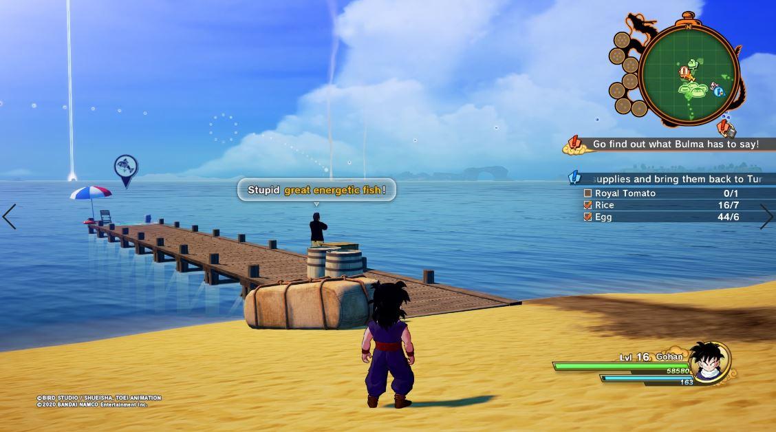 Guía del subsuelo de Dragon Ball Z Kakarot: dónde encontrar un gran pez energético, tomate real, maristone y zanahorias 5