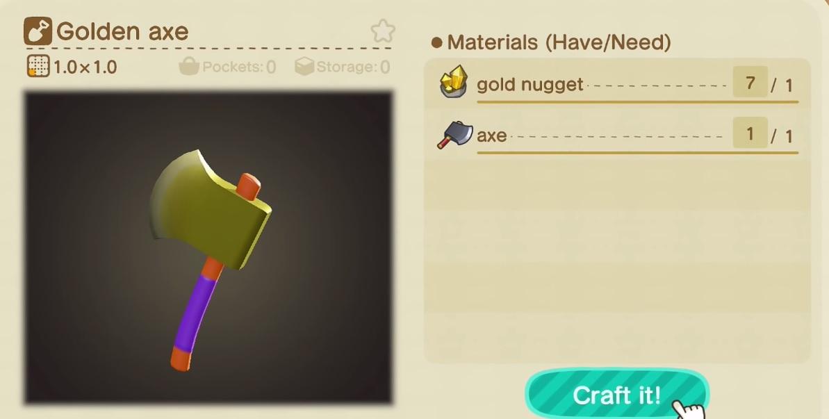 Animal Crossing: New Horizons - Cómo obtener pepitas de oro y crear herramientas de oro irrompibles 82