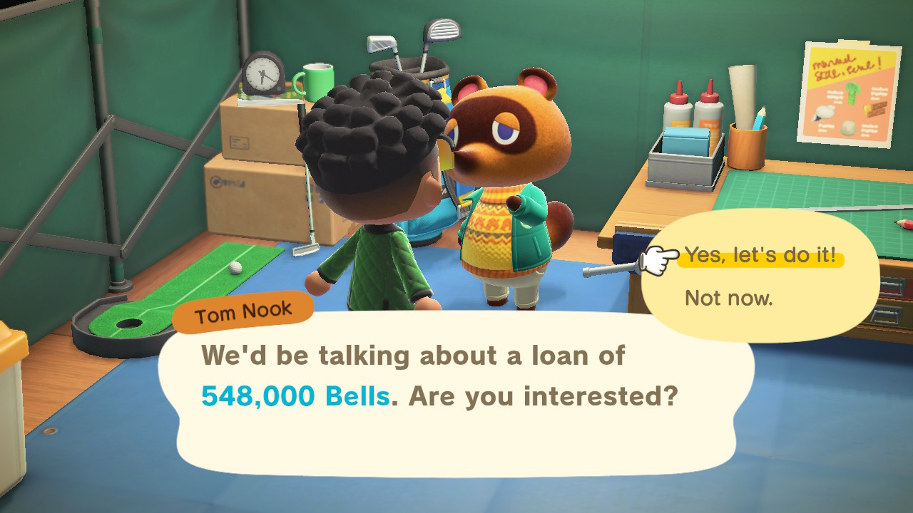 Tom Nook the trash panda charging excessive fees for home upgrades in Animal Crossing: New Horizons
