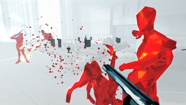 Superhot screenshot showing a gun being fired.