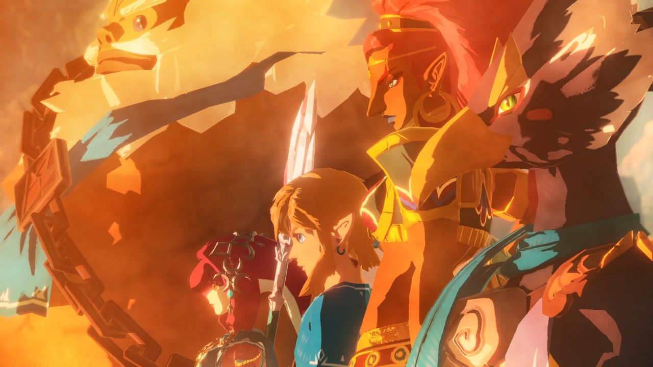 Characters stood together in Age of Calamity on Nintendo Switch.