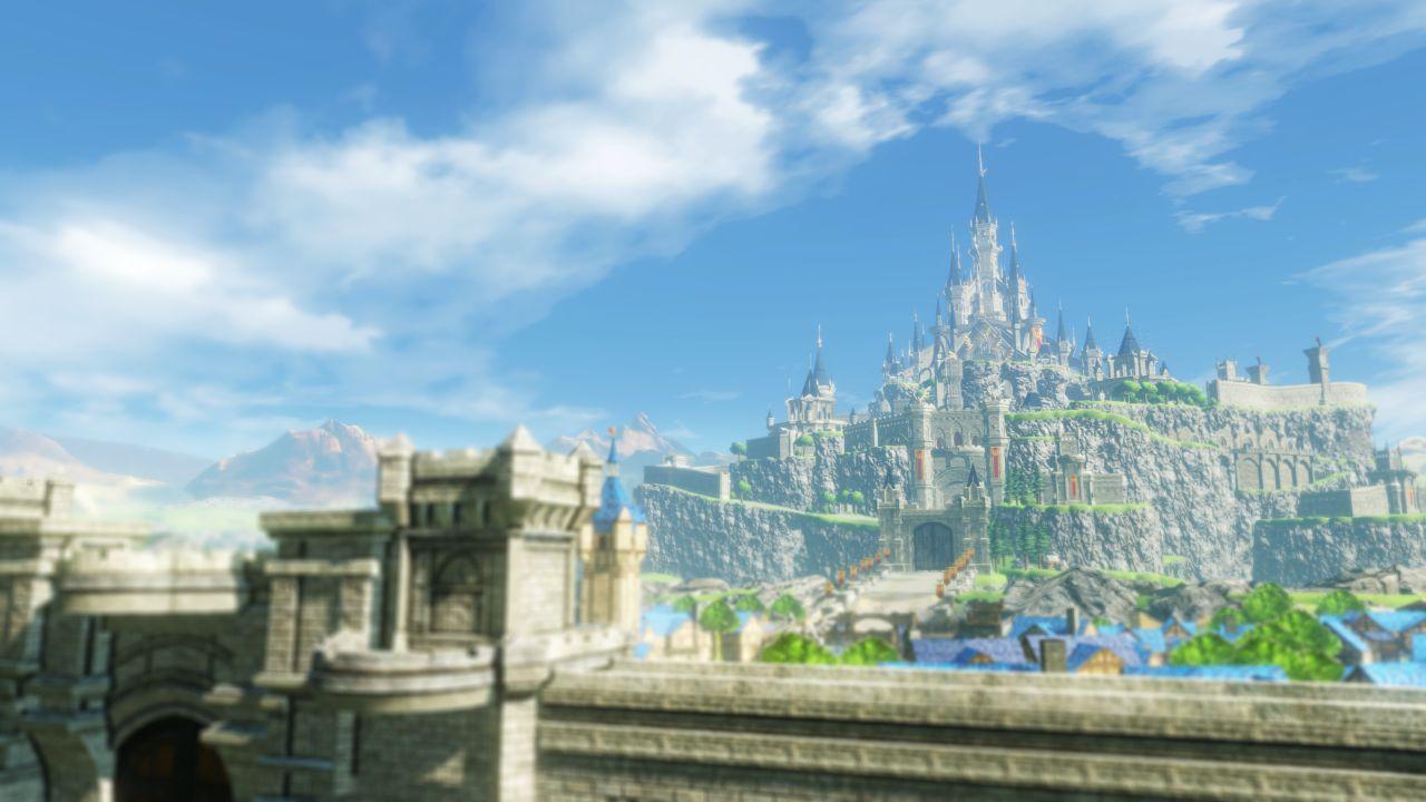 Una ciudad y un castillo en expansión en Age of Calamity para Nintendo Switch.
