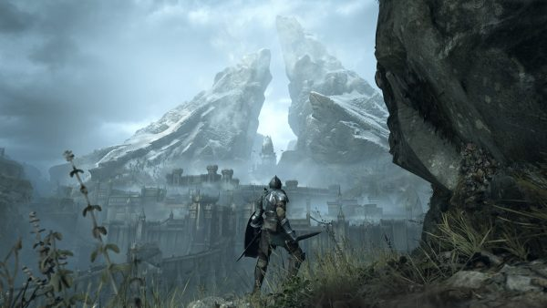 Demon's Souls PS5 screenshot showing a distant mountain.
