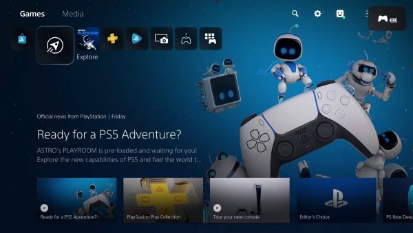 PS5 user interface home screen