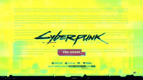 Cyberpunk 2077 launch trailer hidden message