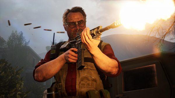 Back 4 Blood screenshoot of a character firing an assault rifle