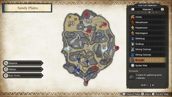 Monster Hunter Rise Eroded Skeletons Sandy Plains map annotated