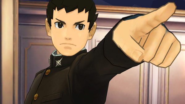 Screenshot of the Great Ace Attorney Chronicles protagonist pointing