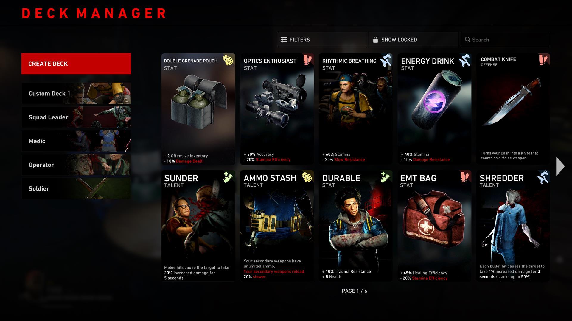 Back 4 Blood's card system