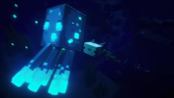 Minecraft axolotl aggroing a glow squid
