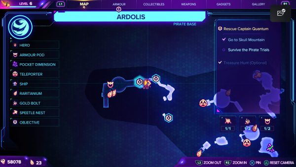 Ratchet & Clank Rift Apart Ardolis Gold Bolt 2 map location