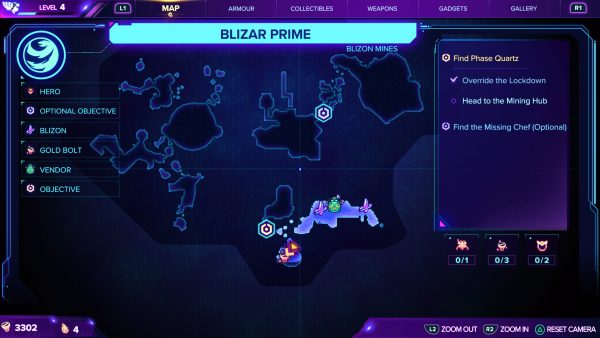 Ratchet & Clank Rift Apart Blizar Prime Gold Bolt location map 1