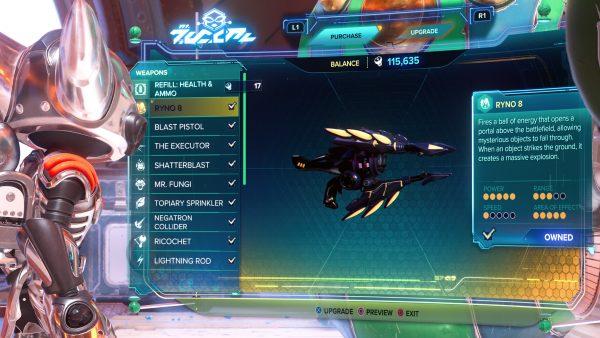 Ratchet & Clank Rift Apart RYNO 8 gun stats