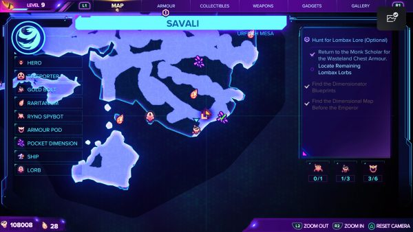 Ratchet & Clank Rift Apart Savali Gold Bolt 3 map location