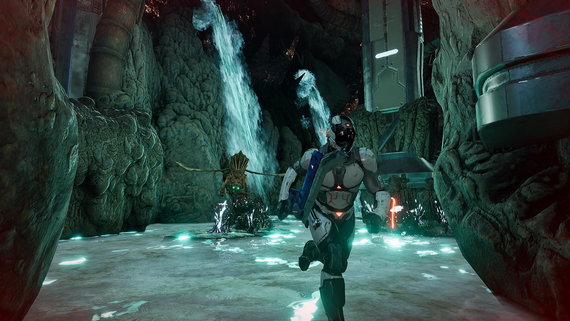 Dolmen is a Souls-like action RPG set in a cosmic horror sci-fi world