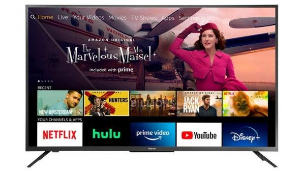 The 50-inch Toshiba 4K UHD Fire TV Edition from the Prime Day TV deal showing the Amazon Prime Video interface and a still from The Marvelous Mrs Maisel