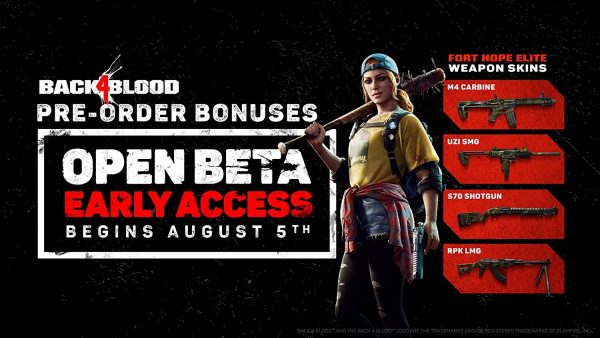 A list of Back 4 Blood pre-order bonuses including open beta access and weapon skins