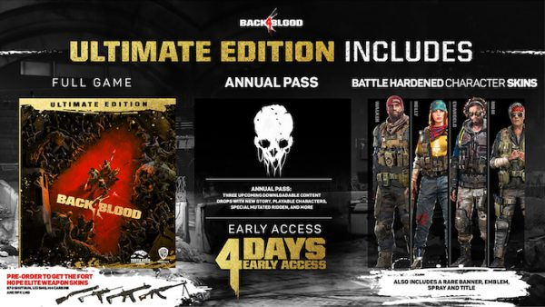 The contents on the Back 4 Blood Ultimate Edition, including annual pass and character skins