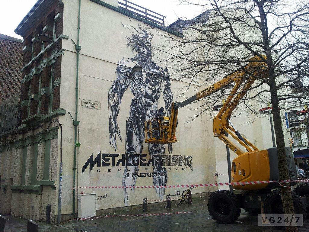 Graffiti artists paint giant raiden murals ahead of metal for Fallout 4 mural