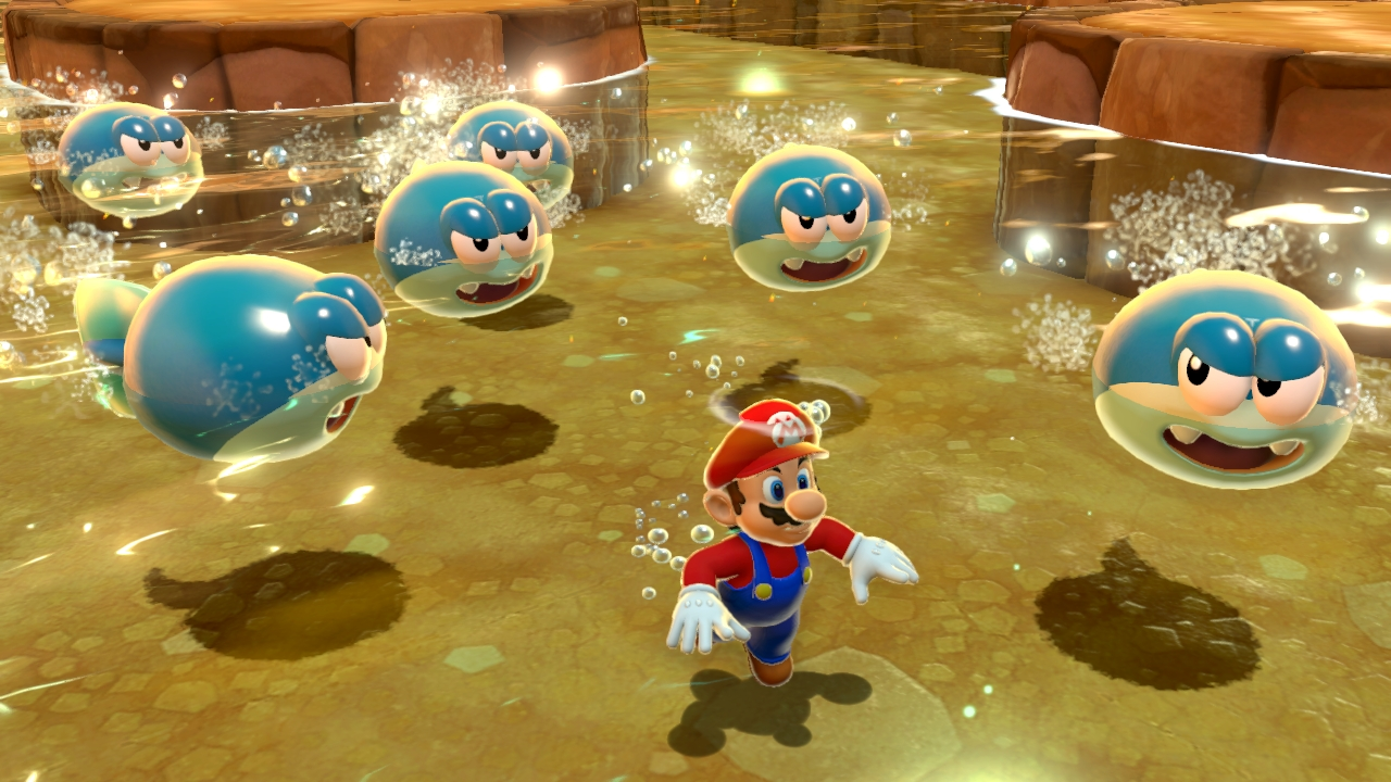 Super mario 3d world screens show colorful environments for Mario go fish
