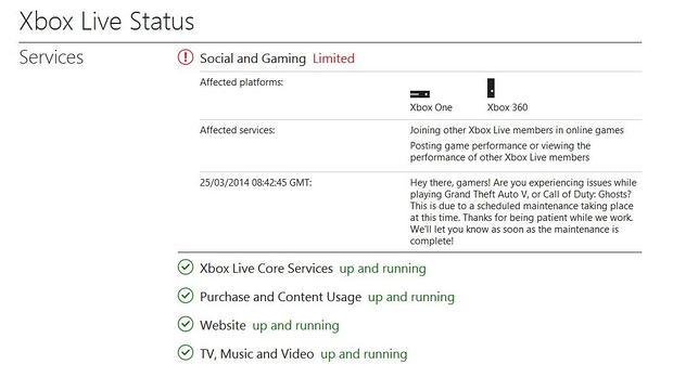 Xbox live status matchmaking service alert