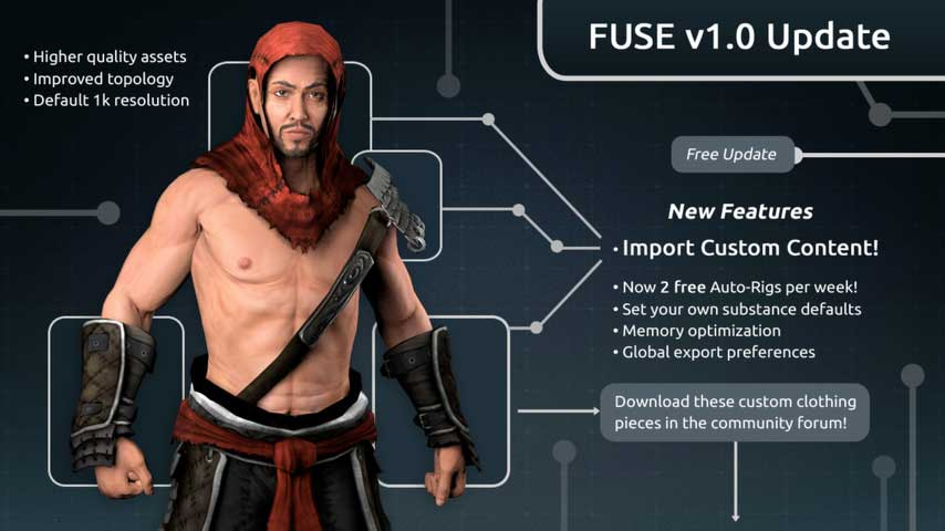 Fuse character creator update adds asset imports vg
