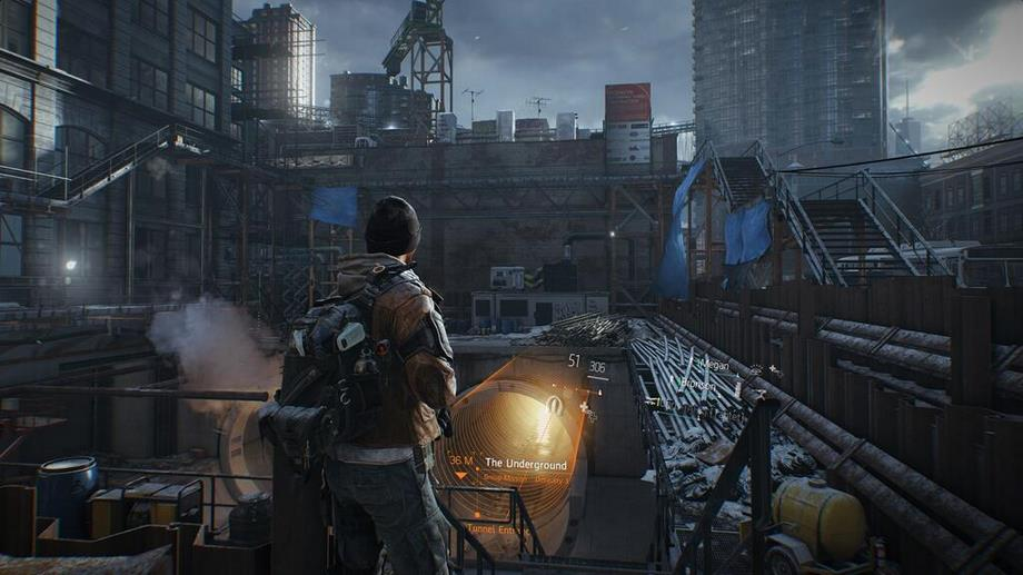 The Division screens show rooftop battles, in-world HUD ...