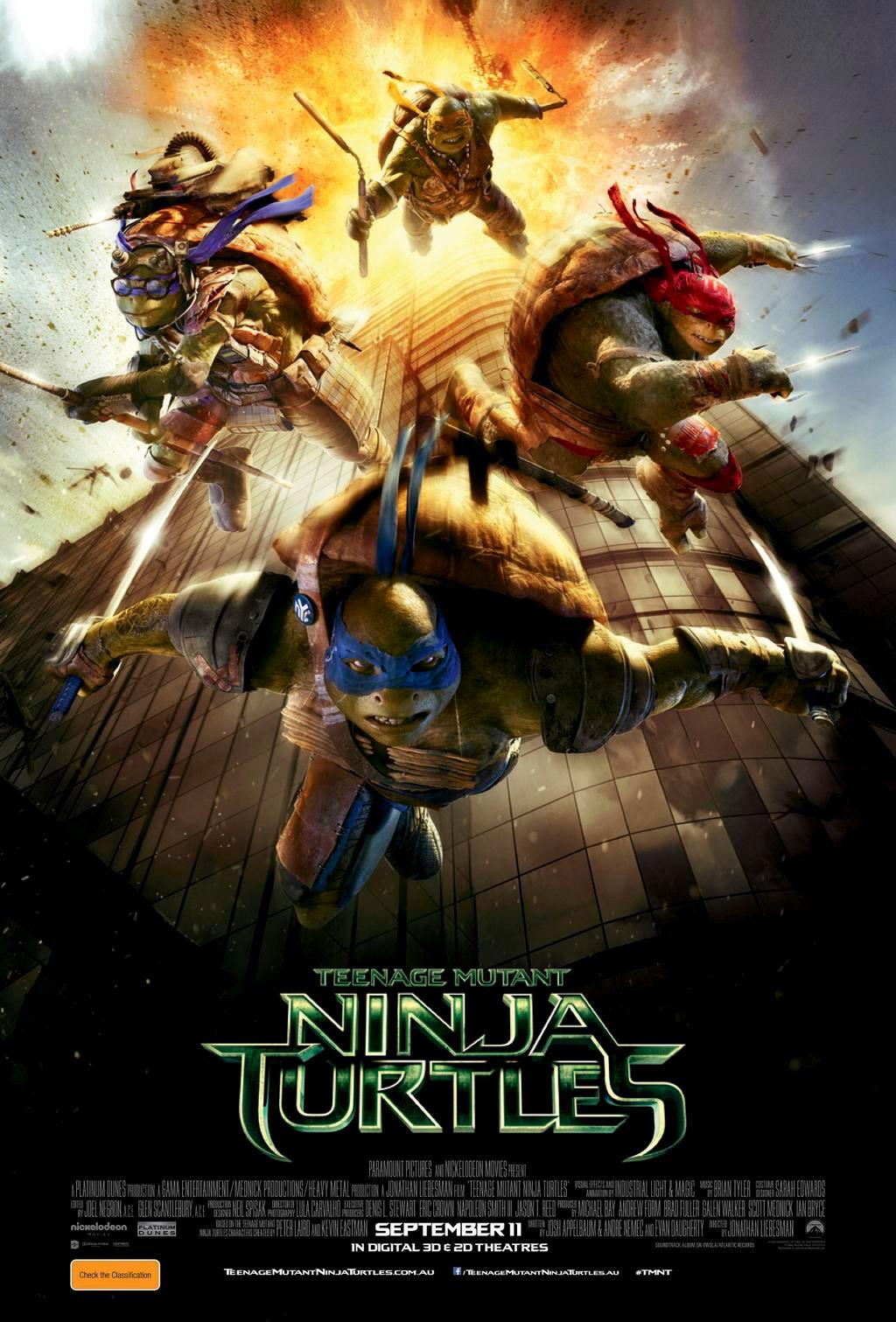 """Teenage Mutant Ninja Turtles poster includes """"September 11 ..."""
